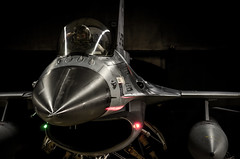 Predator (Floris M. Oosterveld) Tags: f16 fighting falcon viper shelter darkness shadows scary mighty close up shot plane aircraft military jet aviation fast night ready lights royal netherlands air force rnlaf klu