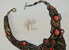 6_The Prophecy_FoggyForest (~Gilven~) Tags: bead beads beading beadembroidery black foggyforest gold gothic scifi swarovski swarovskicrystals swarovskipearl giger alien space dune superduo naturalleather necklace red japanesebeads jewelry jewelryfindingsbyannachernykh metal czechbeads handmade embroidery