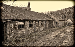 To the farm (radleyfreak) Tags: sepia cowsheds disused path lane walk farm roof tiles tintern monmouthshire isolated vintage track tracks windows farmhouse tinternabbey deserted wales bnw monochrome trees wyevalley abandoned decay stones