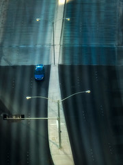 """Through a glass darkly ... "" (Canadapt) Tags: roadway highway median lamp street car reflection window graphic blue lasvegas canadapt"