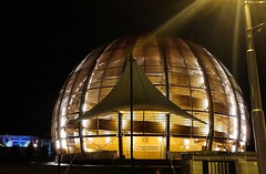 The globe at CERN during a rainy February evening.