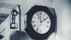Metropolitan Police Station Clock, Wellington Arch Police Station, (AW) Hyde Park Corner, Westminster, London, UK. circa 1948. Note The Handcuffs! (sgterniebilko) Tags: uk london westminster ad 1940 police 1940s 1950s historical 50s 1950 aw 40s sw1 wellingtonarch londonpolice hydeparkcorner metropolitanpolice policelondon policehistory cannonrowpolicestation aorwhitehalldivision