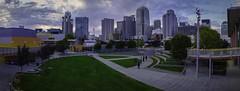 San Francisco Skyline, Yerba Buena Park at Sunset (ben_leash) Tags: sanfrancisco california park city sunset sky urban panorama skyline clouds downtown cityscape skyscrapers unitedstates sfmoma panoramic soma yerbabuena