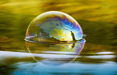 blowing bubbles in Algonquin (Barbara A. White) Tags: water photoshop reflections surreal bubble