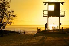 Lifesavers tower (Deb Jones1) Tags: ocean sunset sea beach nature water beauty silhouette yellow sunrise landscape gold surf australia explore beaches lifesaving brunswickheads byronshire cmwd debjones1