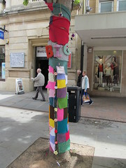 Gloucester BiG Knit (pefkosmad) Tags: city uk england urban streetart color colour tree art wool public fun graffiti knitting crochet craft gloucestershire yarn installation gloucester stealth fiber crafting guildhall fibre guerillaknitting eastgatestreet urbanknitting yarnbombing graffitiknitting yarnstorming kniffiti believeingloucester