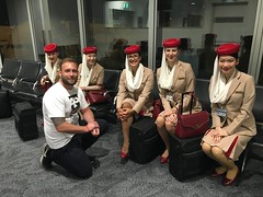 Talking to the Emirates staff before boarding the worlds biggest airplane, the A380! Sydney-Dubai 14 hours 25 minutes!