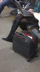 20170109_073130 (ph4eveh) Tags: black boots brown tights sexy legs woman candid