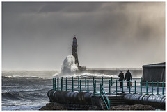 Stormy day (malcbawn) Tags: outdoor stormysea walk lighthouse winter promenade sky dark people wave day seascape malcbawnphotography storm northsea sea sunderland roker wow