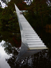 Stairway to Nowhere (Steve Taylor (Photography)) Tags: art sculpture stairs steps concrete water lake newzealand nz southisland canterbury christchurch hagleypark perspective reflection botanicgardens davidmccracken diminishandascend scape staircase taper gull bird