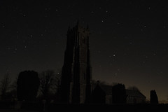 St Mary the Virgin Church, Bishops Nympton, Devon by night.