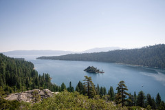 Emerald Bay, Lake Tahoe (KieraJo) Tags: wide angle canonef24mmf14liiusm l lens canon 5d mark 3 iii 5d3 fullframe dslr lake tahoe pines pine trees beautiful camping scenery california nevada sky water island emerald bay mountains plant life nature vacation