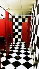 Did I walk into a bathroom or fall down the rabbit hole? (karmenbizet73) Tags: rabbithole bathroom photography photodevelopment amateurphotographer art blackandwhite tile stalls random alice aliceinwonderland followthewhiterabbit goaskalice 2017365photos 3365