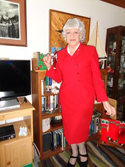 Aunt Laurette Came For The Holidays . . . (Laurette Victoria) Tags: xmas silver suit red laurette