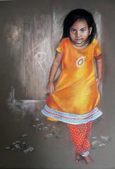 Princess of Gujarat (Monika-b) Tags: girl dress india pastel shy gujarat figurative fille drawing chidren
