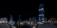 Center of the City. (Jovan Jimenez) Tags: night sky skyline chicago sony a6500 ilce 6500 emount 12mm f28 alpha river walk riverwalk panorama kolor pano panoramic autopanopro autopano giga pixel adobe creative cloud zeiss touit carl landscape city scape cityscape nightscape architexture buildings waterfront water front ultra wide lens merchandise mart architecture miniature