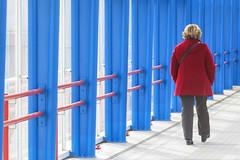 Woman in red (Jan van der Wolf) Tags: bridge blue red woman architecture walking blauw candid coat perspective zoetermeer wife brug jas lopen rood perspectief mandelabrug herhaling ritme mandelabridge map1378v