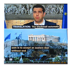 2015_06_270001 - blackmail automate yum (Gwydion M. Williams) Tags: uk greatbritain england funny britain humor humour greece subtitles captions subtitle misprint austerity misprints eurocrisis grexit greekeurocrisis
