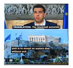2015_06_270001 (t1) - blackmail automate yum (Gwydion M. Williams) Tags: uk greatbritain england funny britain humor humour greece subtitles captions subtitle misprint austerity misprints eurocrisis grexit greekeurocrisis