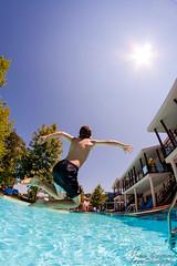 Fly (johanbe) Tags: summer holiday pool fun jump play side fisheye sommar leker 2015 hoppa samyang suenohotel