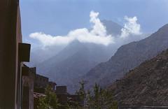 Imlil/ (xbacksteinx) Tags: mountains slr film clouds analog 35mm 50mm mood moody view grain morocco atlas grainy expired canonae1program beheaded c41 colornegative canonfd50mmf18 kodakfarbwelt400