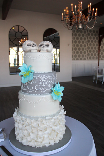 Skulls Wedding Cake with Scrollwork piping and Fondant Petals