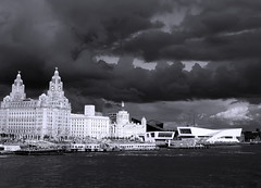 sky over Liverpool waterfront - mono (scouser185) Tags: mono 3graces liverpoolwaterfront