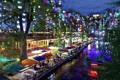 San Antonio, TX River Walk (finelld) Tags: sanantonio riverwalk night texas bokeh tiltshift outdoor city scape holiday lights umbrella patio resteraunt