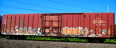 syer - base (timetomakethepasta) Tags: syer base freight train graffiti art boxcar missouripacific mp mopac plant trees htf atb cohe asc toms