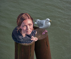 Pylon Squatting (swong95765) Tags: pylon gull seagull river water woman female squatting ownership fued