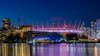 Purple Haze (Sworldguy) Tags: bcplace falsecreek edgewatercasino stadium downtown waterfront reflections cityscape citylights vancouver britishcolumbia bc nightscene nikon d7000 dslr wideangle night construction condominium cranes skyline water yaletown