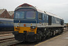 Class 59 59103 in Hanson livery stands at Knights Rail Services Eastleigh Works open day held on 23-05-2009. (JaxSansome) Tags: eastleigh class59 locomotive train railway knightsrailservices openday hansom