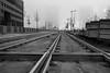 Fog and Rails (John fae Fife) Tags: tramlines fujifilmx noiretblanc xe2 luxembourg monochrome tramworks urban rails morning bw fog nb blackandwhite