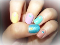 A colorful design :D (Valy ;)) Tags: nails nailart colorfulnails dots lightblue babypink yellow teal lilac