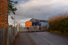 37605 & 37603 crossing over the road and into the compound at Sizewell. 11 01 2017 (pnb511) Tags: eastsuffolkline saxmundham suffolk train class37 diesel locomotive loco railway branch branchline leiston levelcrossing crossing gates hedge trees clouds aldeburgh