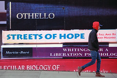 Streets Of Hope (Ian Sane) Tags: ian sane images streetsofhope wall mural books man walking candid street photography portland state university oregon canon eos 5d mark ii two camera ef70200mm f28l is usm lens harrellfletcherwithavalonkalin theknowledge
