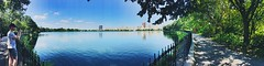 The Reservoir (DaniTachet) Tags: path trees sky buildings city newyork centralpark water hot beautiful colour panorama warm summer vacation nature reservoir blue travel park green lake
