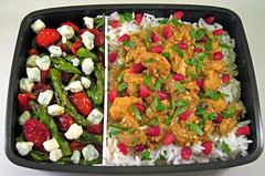 Persian Pomegranate Chicken Bento (Cathryn3) Tags: chicken lunch persian rice tomatoes pomegranate asparagus bento balsamic bluecheese