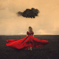 on the horizon (brookeshaden) Tags: fairytale contrast landscape blacksand iceland surrealism empty barren badday reddress whimsical blackstone vast blackcloud conceptualphotography blackredandwhite brookeshaden miahutchinson