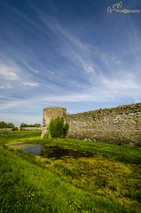 Pevensey Moat (Gavmonster) Tags: blue england sky green tower castle water face grass stone wall architecture clouds landscape sussex nikon roman unitedkingdom fort outdoor ruin ivy medieval filter moat saxonshore eastsussex polarised pevenseycastle englshheritage 1024mm d7000 anderitum nikond7000