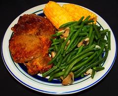 Red Chile Bison Rib Eye Steak (ezigarlick) Tags: mushrooms corn sauce steak garlic greenbeans bison ribeye redchile