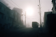 Heading off to work (Robert Ogilvie) Tags: fog nikonn80 foundinsf gwsf kodakektar100