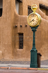 Santa Fe Clock (Jerry Fornarotto) Tags: street plaza newmexico santafe southwest west building clock gold golden time outdoor watch large adobe nm standard townsquare townclock pocketwatch ticking streetclock newmexicomuseumofart jerryfornarotto