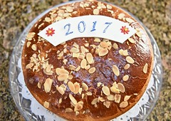 Vasilopita for the New Year! (ineedathis,The older I get the more fun I have....) Tags: happynewyear 2017 καληπρωτοχρονια vasilopita βασιλοπιτα greek baking tradition nikond750 newyearscake slicedalmonds newyearsbread