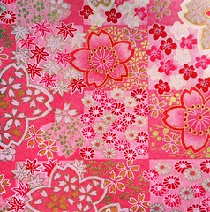 Yuzen washi 189 (tengds) Tags: handmadepaper japanesepaper yuzenwashi washi chiyogami red pink flowers sakura cherryblossoms tengds