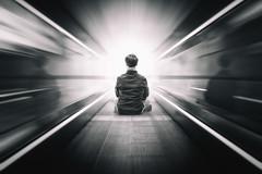Zoooooom (PH∅T∅Matrix) Tags: blackwhite symmetry zoom people focus light lines escalator