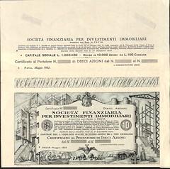 FINANZIARIA PER INVESTIMENTI IMMOBILIARI SOC. (scripofilia) Tags: 1932 azioni finanziaria immobiliari investimenti investimentiimmobiliari