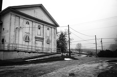 Delusions of Grandeur (drei88) Tags: greekrevival historic forlorn fog dreary weathered bleak grim desolate dark january clouds cold lonely windswept charged snow ice mantuacenter deadofwinter greektemple portagecounty ohio