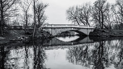 Stnaley park bridge (cycletravels) Tags: seating box colums shelter sea ocean bnw monochrome path view landscape bridge lake pond tree forest reflection grey black white