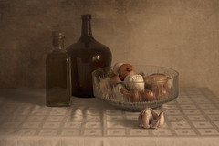 Garlic and Onions I (suzanne~) Tags: stilllife bodegón tabletop indoor garlic onion food painterly fine art texture bottle
